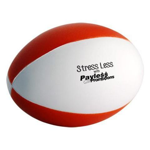 S77 Football Red & White 4 Panels Printed Sports Stress Balls
