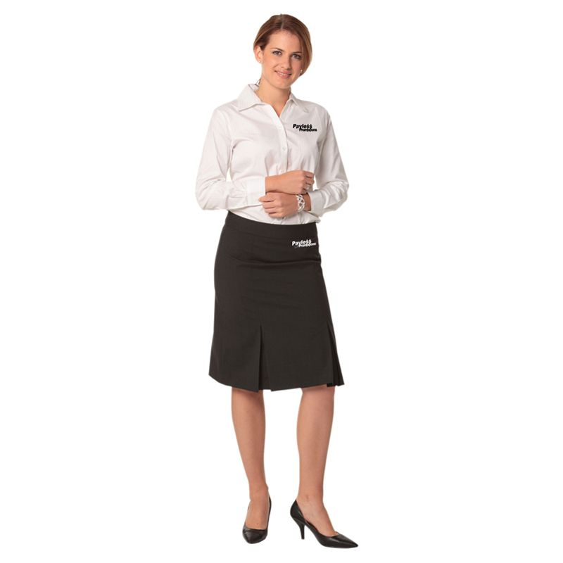 M9473 Wool Blend Pleated Embroidered Skirts With Stretch