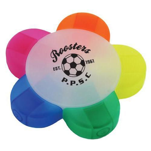 P76 5 Colour Flower Logo Highlighters