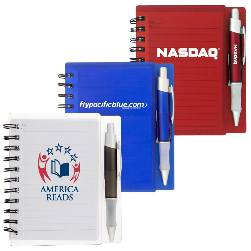 T505 Translucent Plastic Cover Advertising Notepads With Matching Pen - 90 Pages
