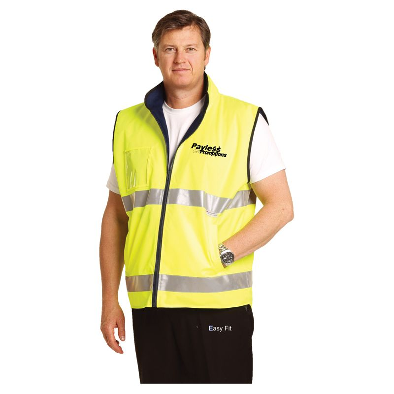 SW49 Reversible ID Pocket Branded Hi Vis Polar Fleece With 3M Reflective Tape