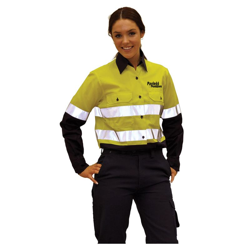 SW65 Ladies Cotton Long Sleeve Custom Workwear Shirts With 3M Reflective Tape (XL)