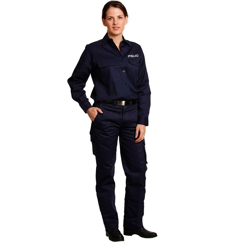 WP15 Ladies Cotton Drill Cargo Logo Work Wear Pants