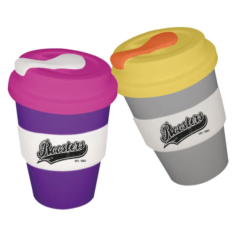 CC350SLSP-M Metallic 350ml Printed Carry Cups With Solid Lid and Soft Silicon Seal Plug