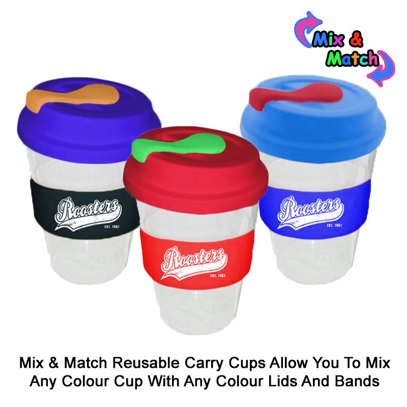 TCC350SLSPY 350ml Colour Change Band Personalised Re-usable Coffee Cups With Solid Lid and Soft Silicon Seal Plug