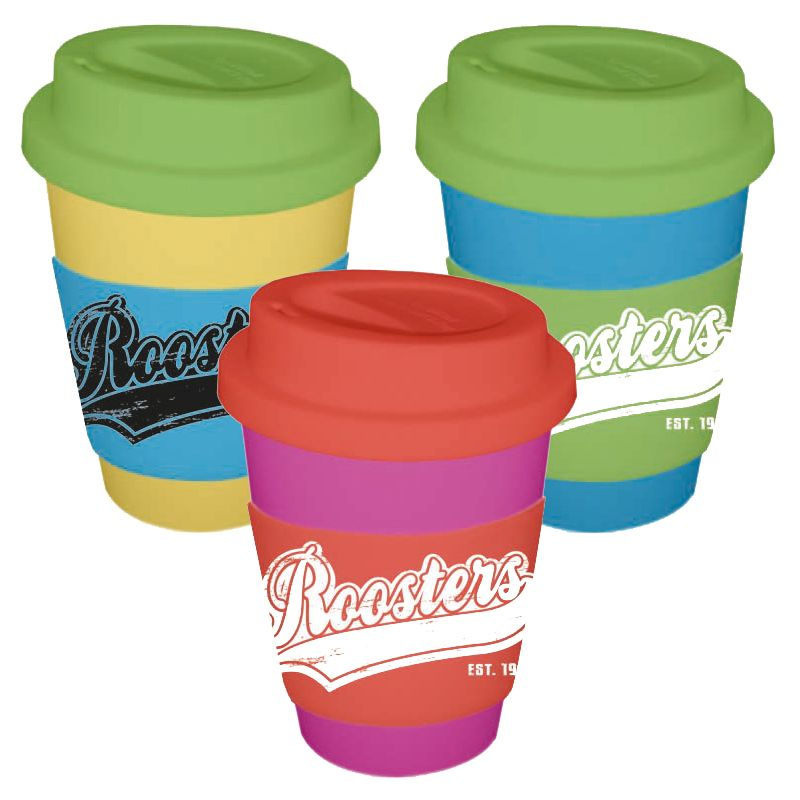CC350SSWB 350ml Wide Band (55mm) Printed Travel Coffee Cups With Soft Silicon Lid