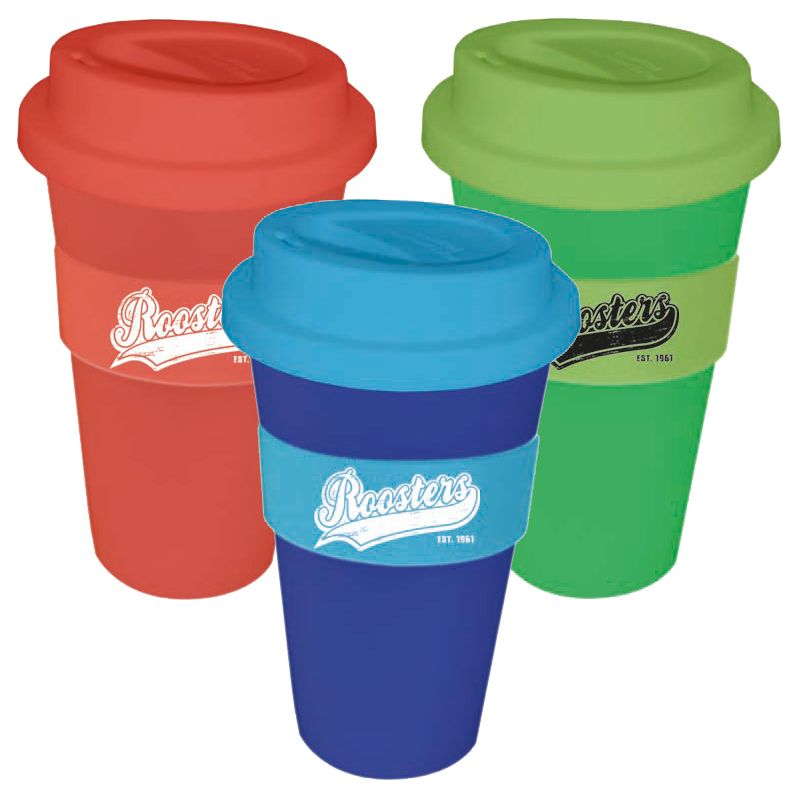 CC450SS 450ml Printed Re-usable Coffee Cups With Soft Silicon Lid