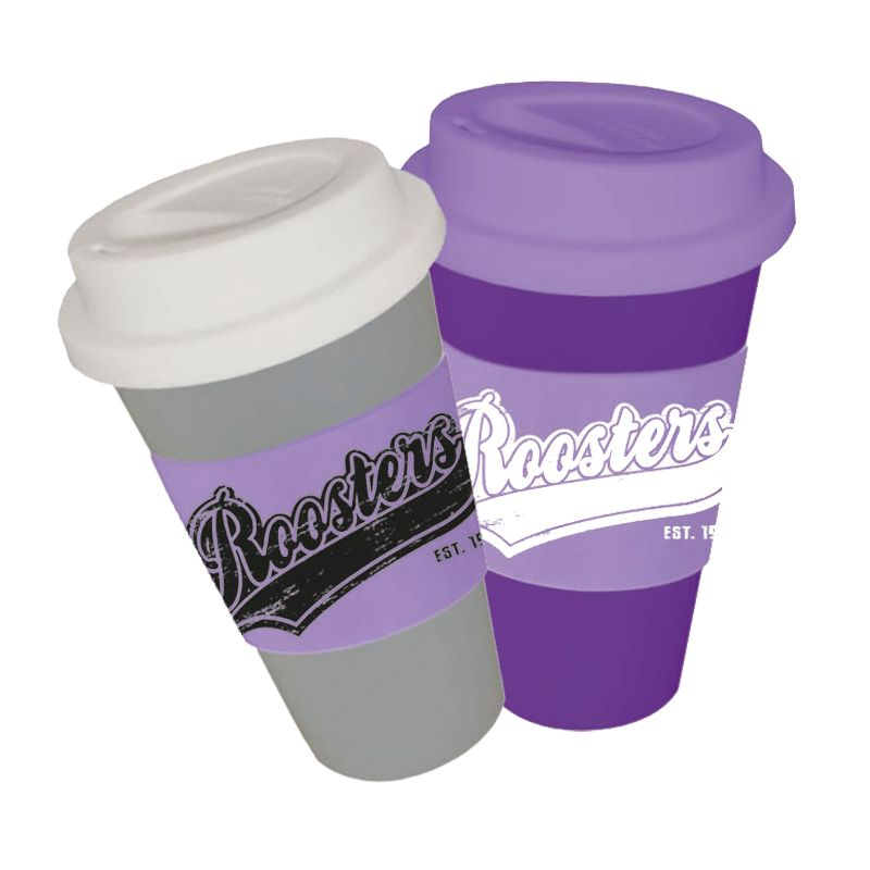 CC450SSWB-M Metallic 450ml Wide Band (55mm) Custom Travel Coffee Cups With Soft Silicon Lid