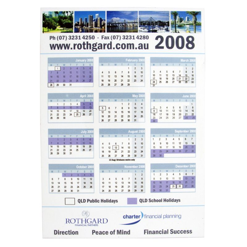 CL102 Gloss Laminated Promotional Magnetic Calendars (148 x 210mm)