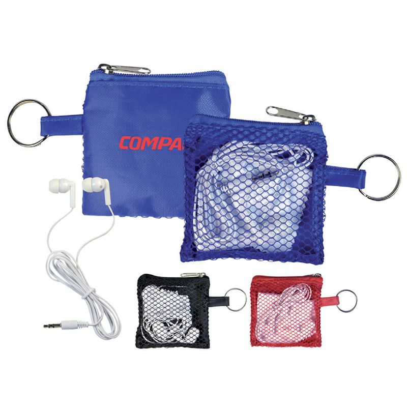 H358 Standard Personalised Earphones With Microfibre Cloth In Meshed Pouch