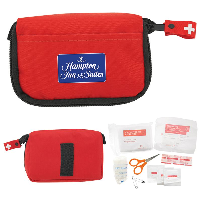 H681 13 Piece Branded First Aid Kits In Travel Bag