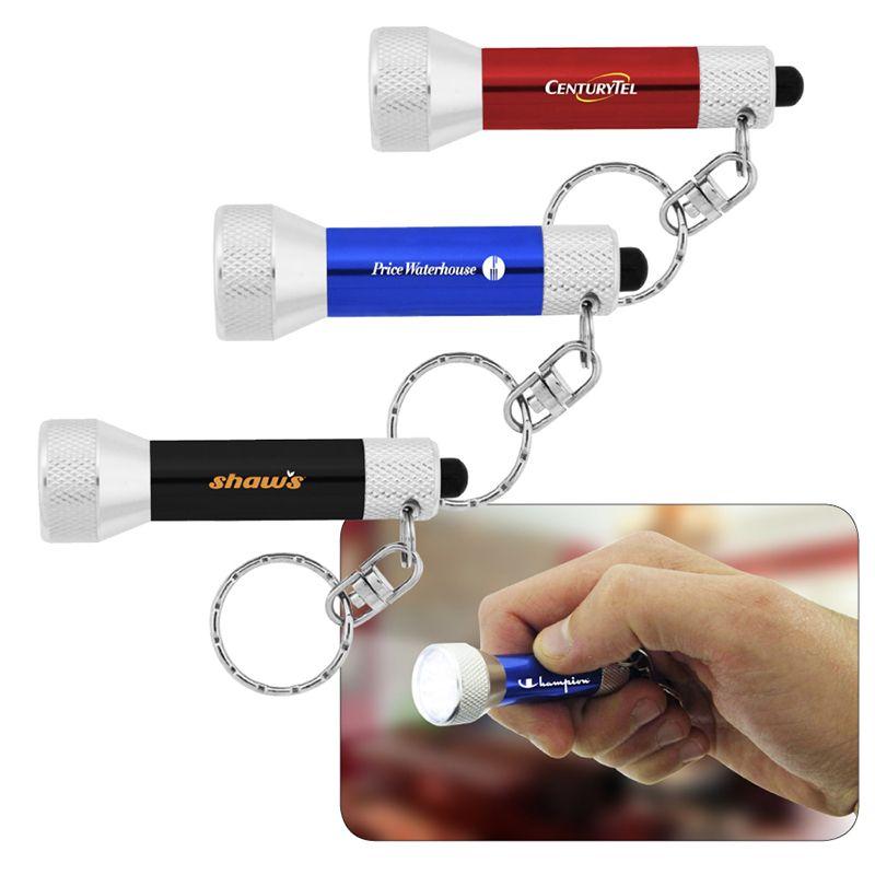 L707 7 LED Aluminium Printed Flashlights With Keyring