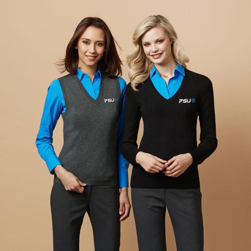 LV3504 Ladies V Neck Knitted Vests