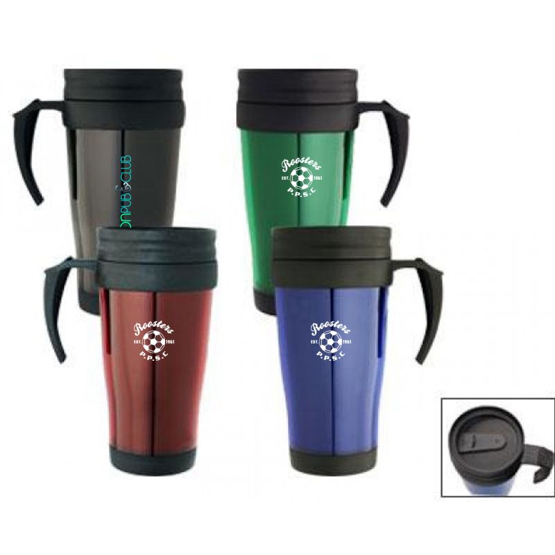 M01 350ml Translucent Printed Plastic Travel Mugs With Double Wall