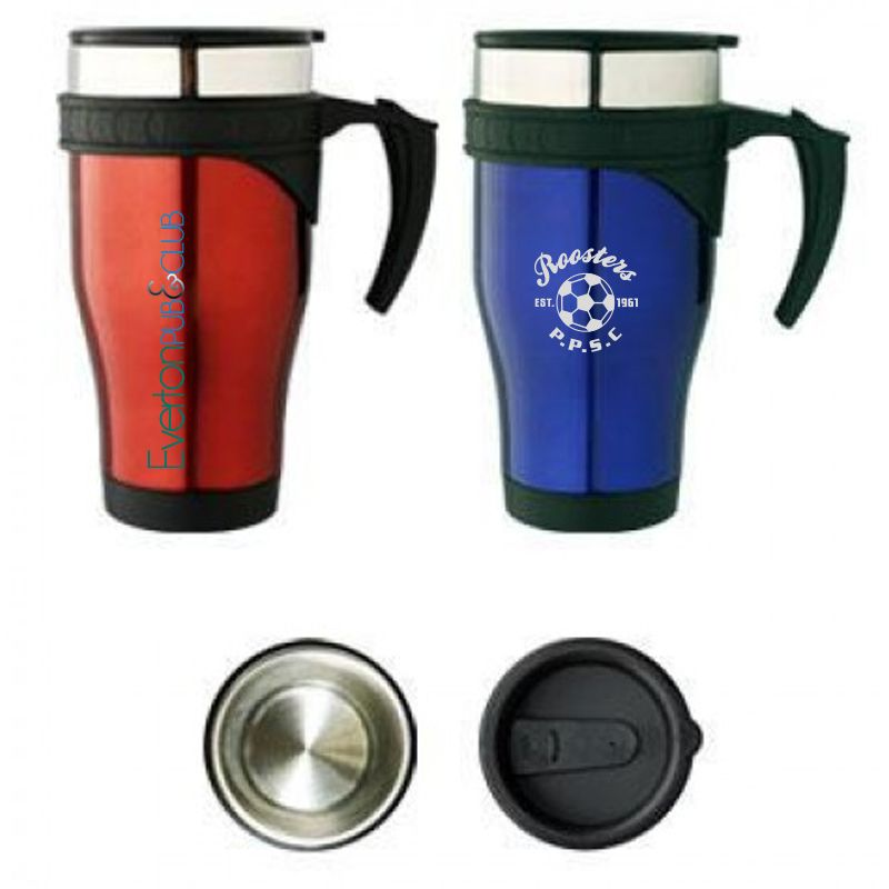 M20 475ml Coloured Personalised Stainless Travel Mugs With Stainless Inner (Double Wall)
