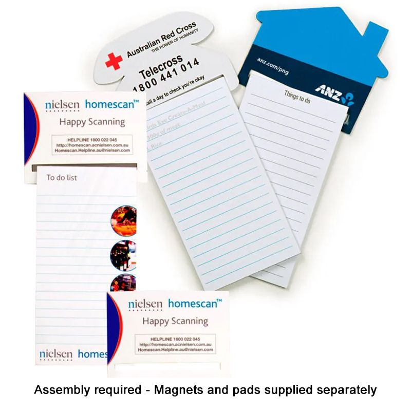 M407H House Shape Printed Magnetic Note Pads (With 25 Page Notepad Printed Black)