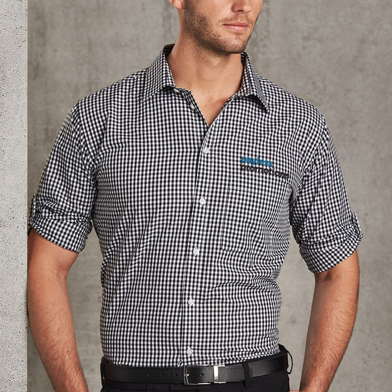 M7300L Gingham Check Long Sleeve Business Shirts
