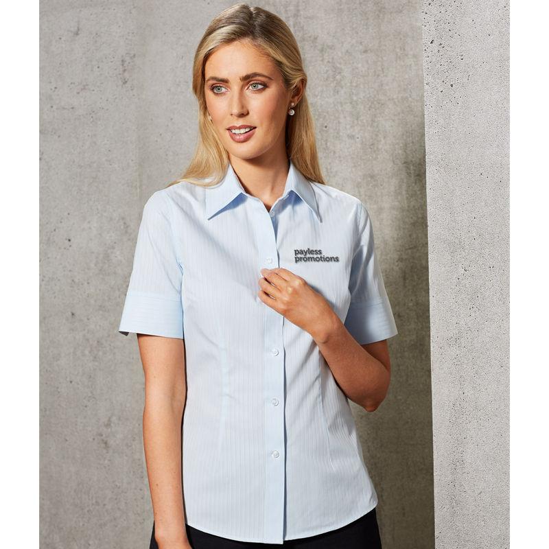 M8100S Ladies Woven Stripe Business Shirts - Benchmark Range