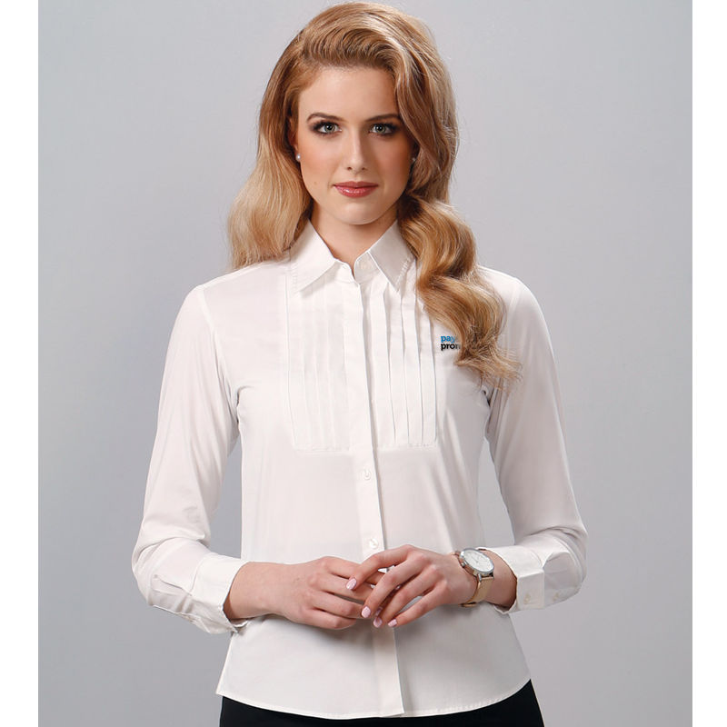 M8192 Tuck Front Long Sleeve Embroidered Corporate Shirts With Stretch