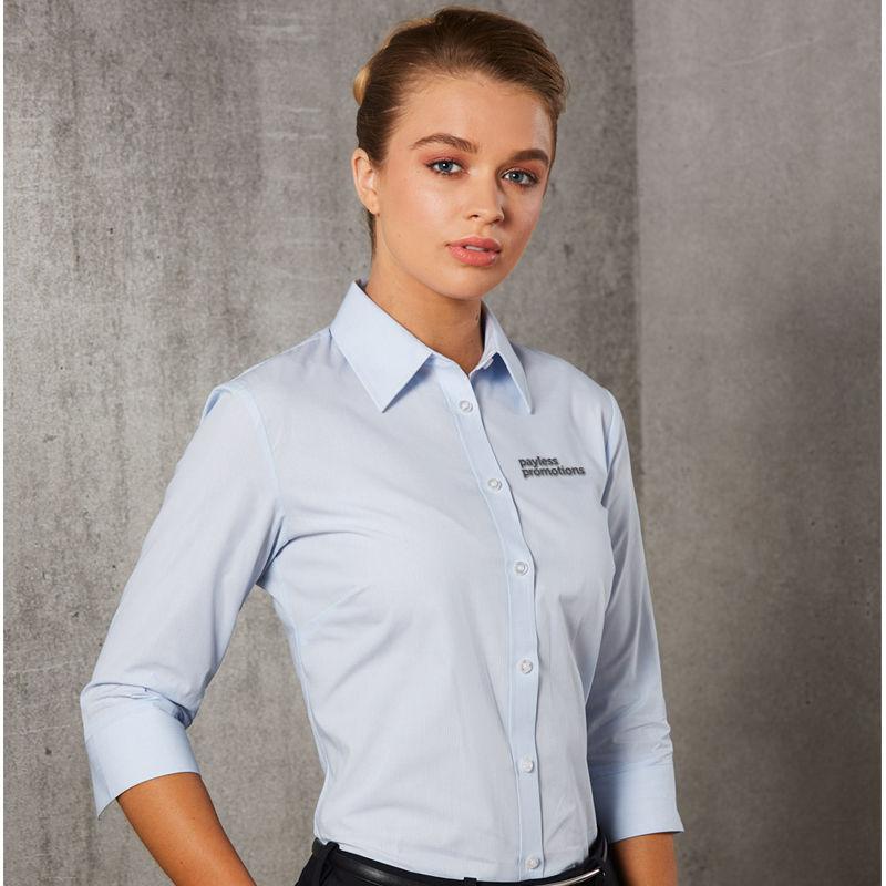 M8213 Ladies Fine Stripe Embroidered Business Shirts - Benchmark Range