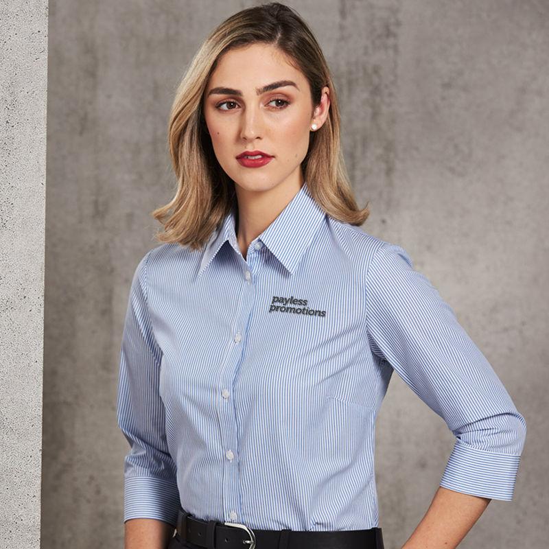 M8233 Ladies Balance Stripe 3/4 Sleeve Shirts - Benchmark Range