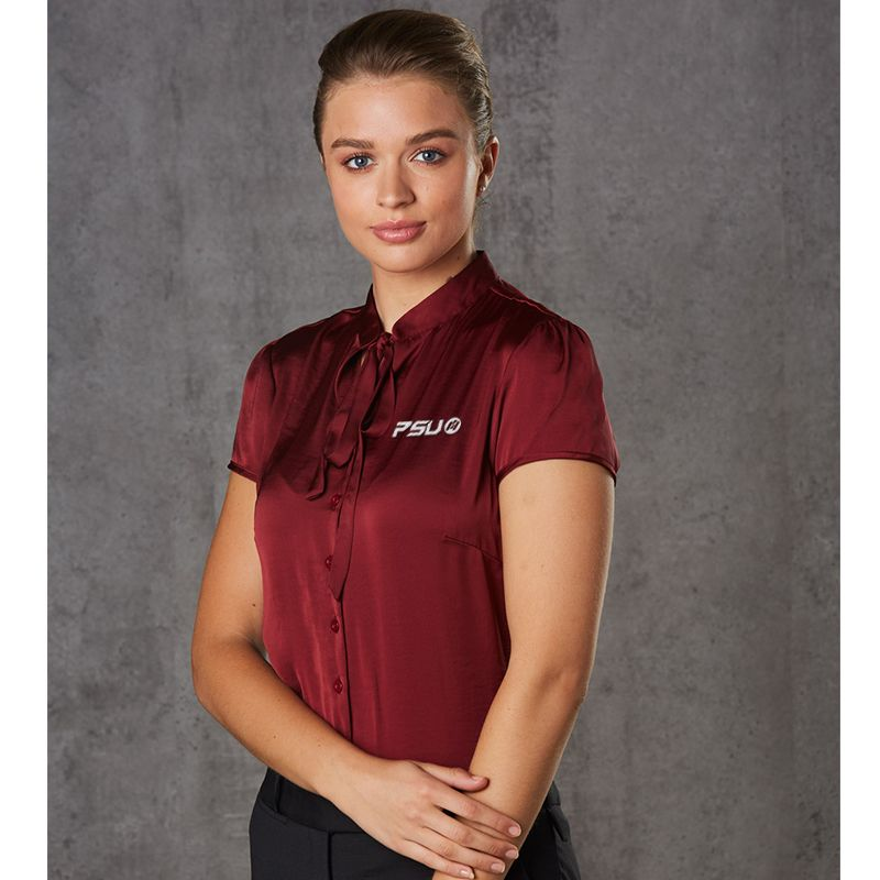 M8810 Tie Neck Embroidered Button-Up Shirts