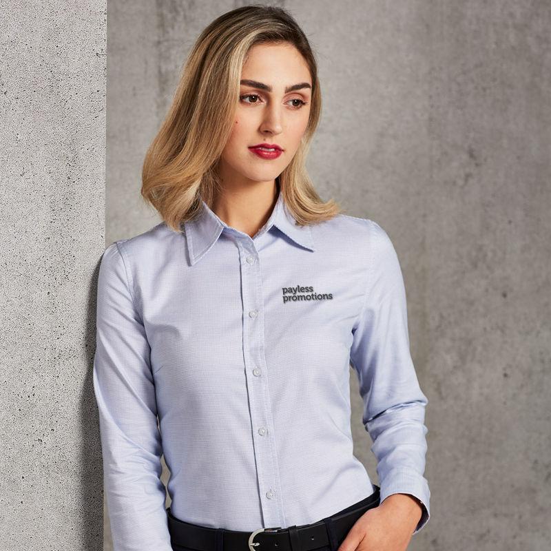 M8922 Ladies Dot Contrast Business Shirts - Benchmark Range