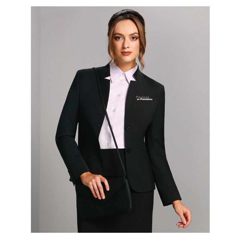 M9202 Ladies Wool Blend Reverse Lapel Suit Jackets With Stretch