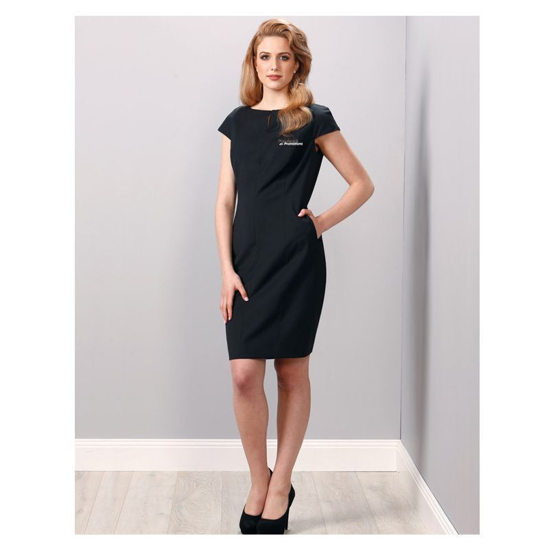M9281 Ladies Wool Blend Business Dresses With Stretch