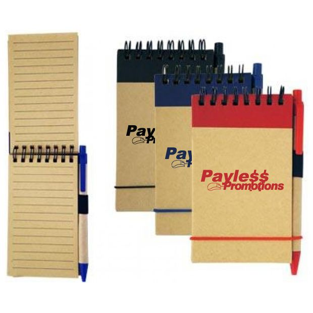 NB02 Fully Recycled Personalised Green Notepads With Pen - 160 Pages