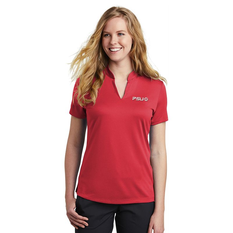 NKAA1848 Ladies NIKE GOLF Hex Textured V-Neck Branded Polo Shirts