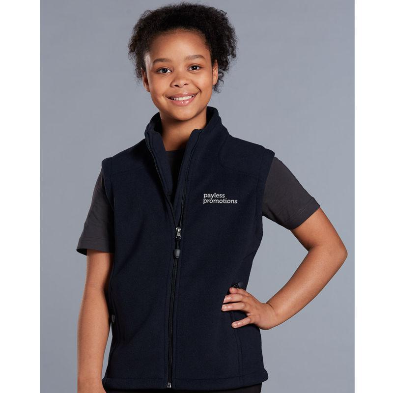 PF09K Kids Deluxe Bonded Customised Fleece Vests