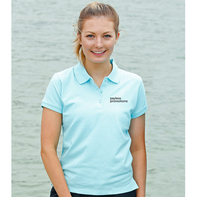 PS56 Ladies Darling Harbour 100% Cotton Embroidered Polos With Stretch