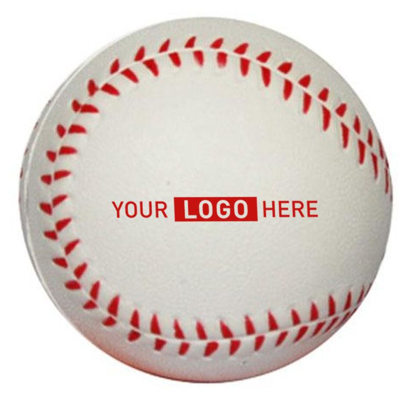 S15 Base Ball White Printed Sports Stress Balls