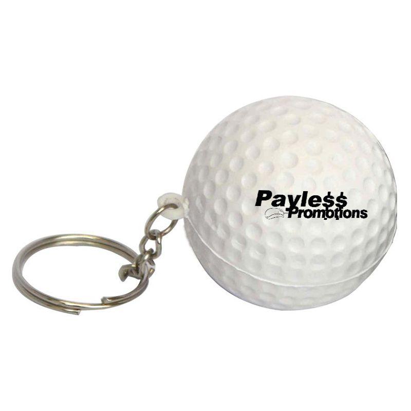 S30 Golf Ball Keyring White Promotional Sports Stress Balls