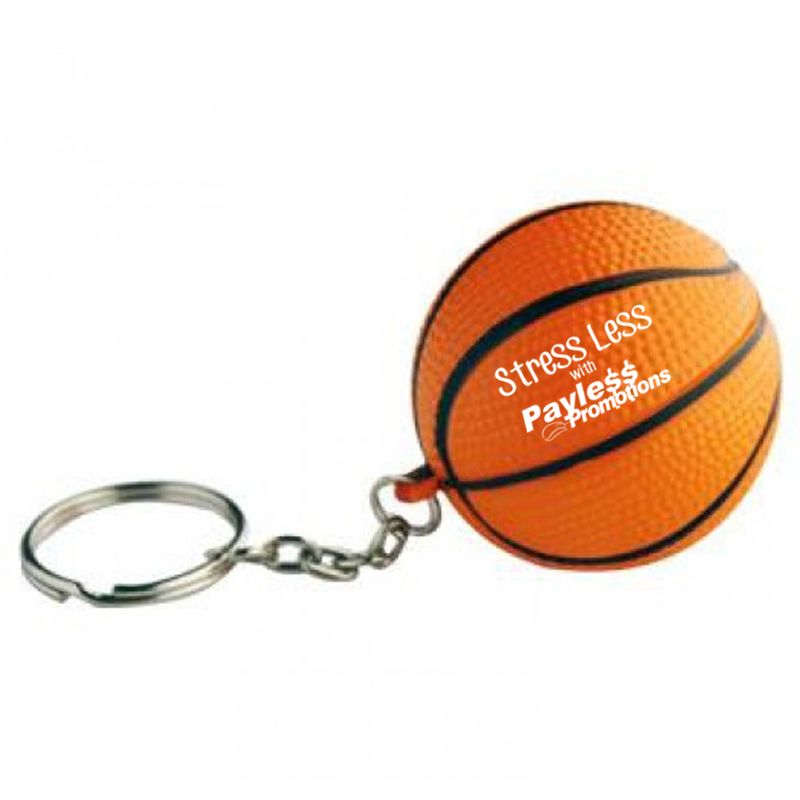 S31 Basket Ball Keyring Orange Printed Sports Stress Balls