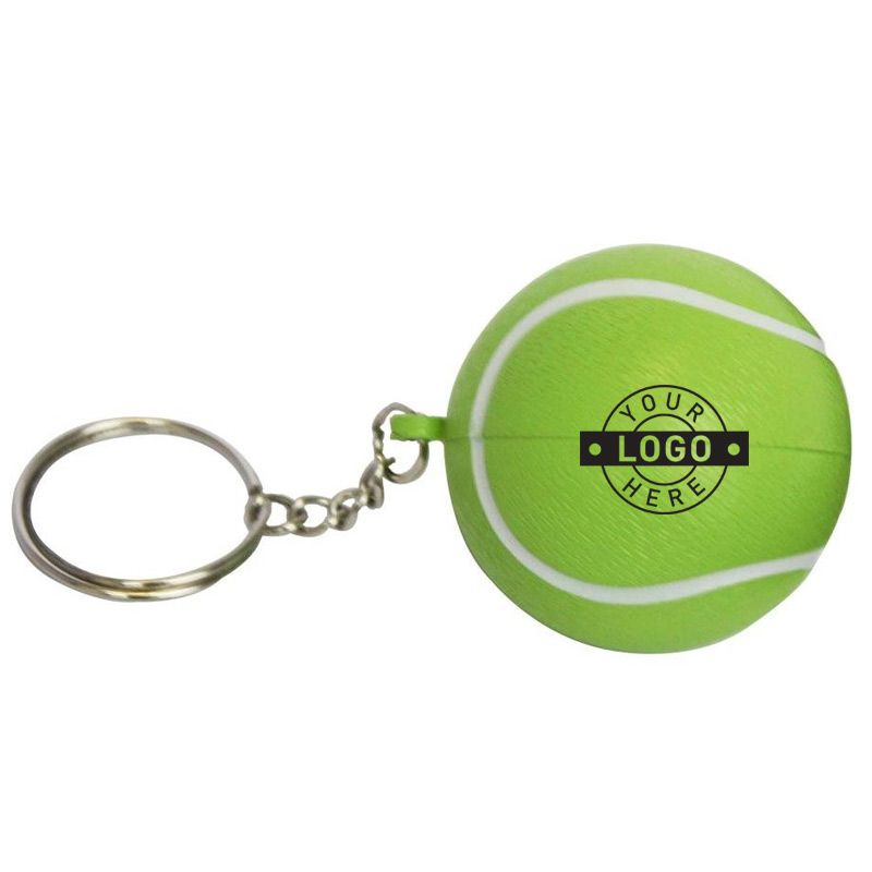 S34 Tennis Ball Keyring Green Imprinted Sports Stress Balls