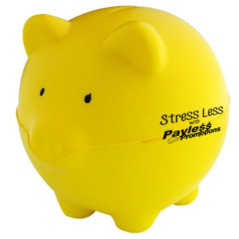 S65 Yellow Pig Personalised Animal Stress Balls