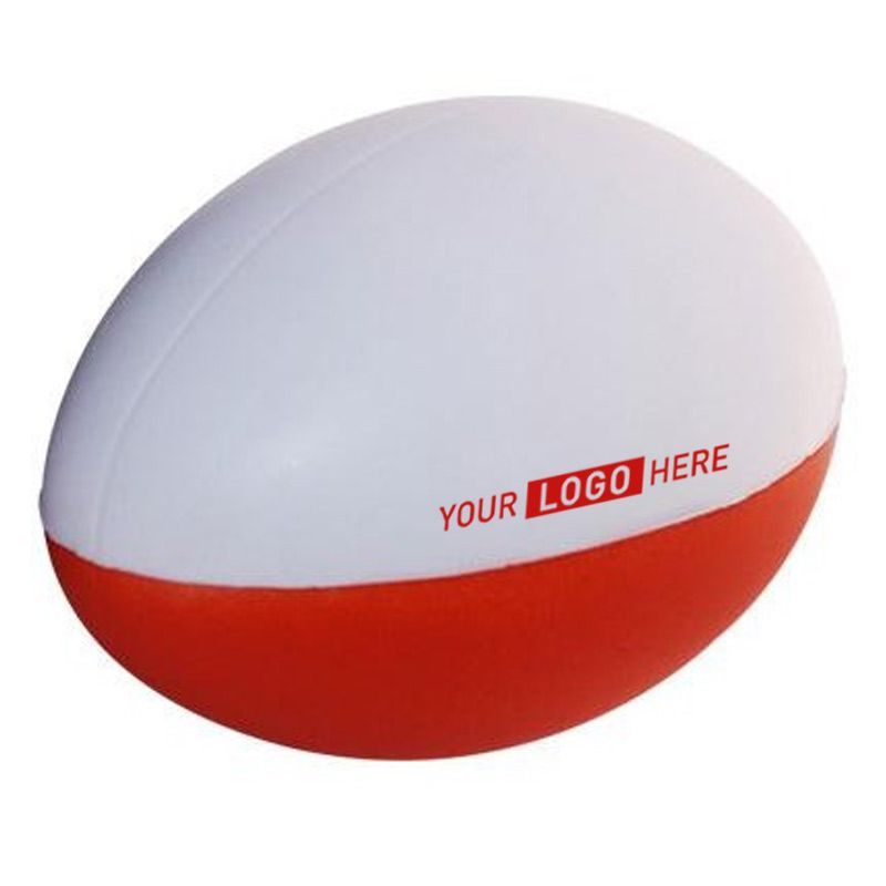 S78 Football Red & White 2 Panels Promotional Sports Stress Balls