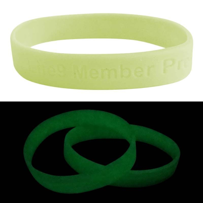 SWBGIDD Green Glow In The Dark Debossed or Embossed Promotional Silicone Wristbands