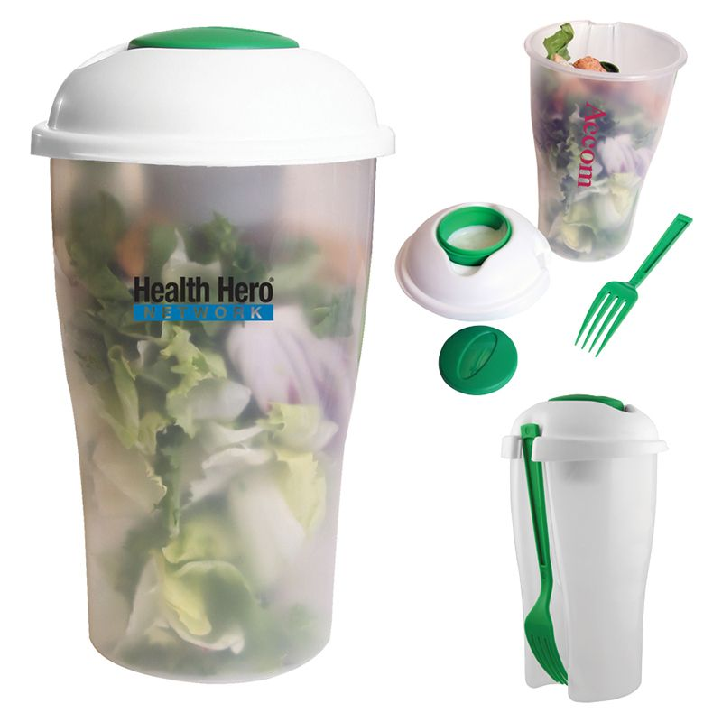 T547 Salad Shaker Custom Food Containers With Plastic Fork
