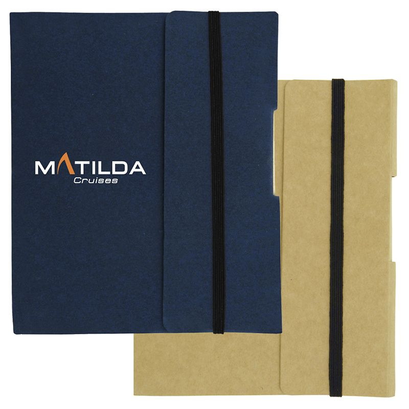 T934 Small Tuck Promotional Enviro Notepads With Eco Pen And Elastic Band - 85 Pages