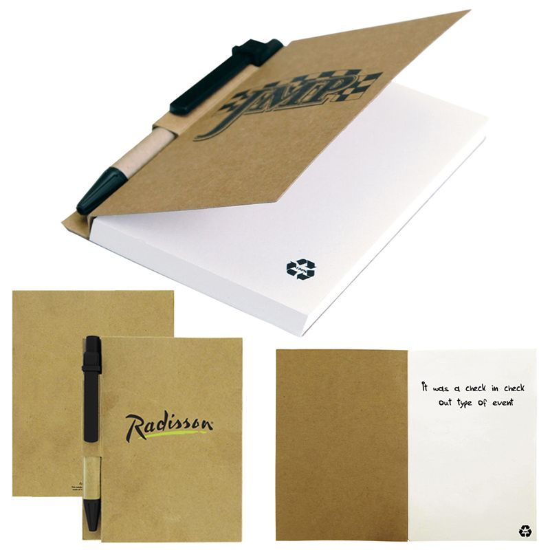 T936 Recycled Paper Cover Custom Eco Notepads With Eco Pen - 80 Pages