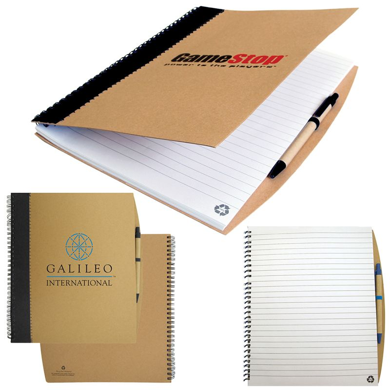T938 Heavy Duty Custom Eco Notepads With Eco Pen And Black Stripe - 70 Pages