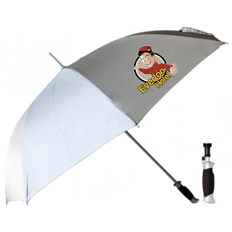 T21 Silver Promotional Golf Umbrellas With Fibreglass Shaft & Ribs