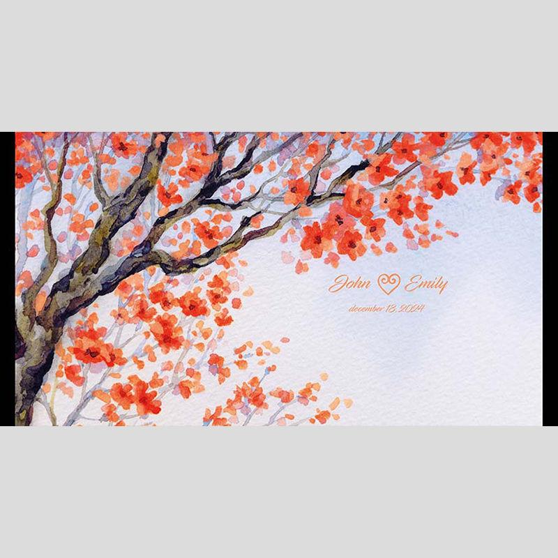 WD96 Painted Tree Wedding Stubby Holders