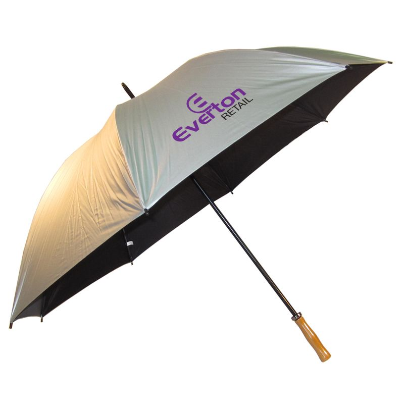 WG002(S) Pro Silver Printed Golf Umbrellas With Black Steel Frame & Fibreglass Ribs (Silver)