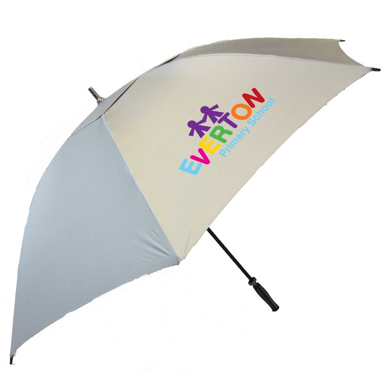 WG006(SR) Hurricane Deluxe Vented (Silver or Reflective) Branded Golf Umbrellas With Fibreglass Shaft & Ribs