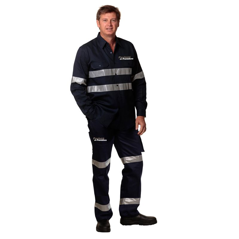 WP07HV-D Cotton Drill Branded Work Wear Pants With 3M Double Reflective Tape (Regular)