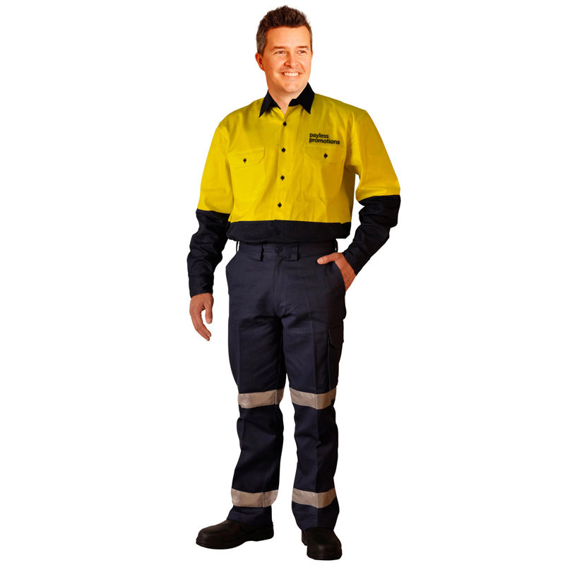 WP13HV Cotton Drill Custom Workwear Pants With 3M Reflective Tape (Long)